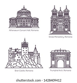 Famous tourist landmarks of Romania in thin line. Bran castle and Sinaia monastery, Triumphal arch or arc or Arcul de Triumph, Athenaeum concert hall. Romanian or Bucharest architecture, sightseeing
