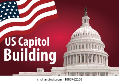 Famous 'US Capitol building' isolated cartoon illustration
