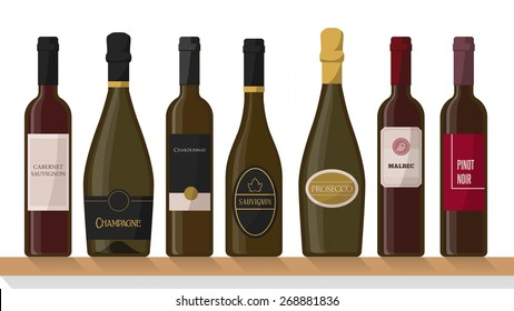 Famous white, red and sparkling wine bottles on a shelf with labels