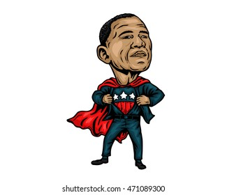 Famous World Leader - United States of America President Barack Obama Caricature Super Hero Pose To Save America