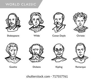 famous world writers, vector portraits, Shakespeare, Wilde, Conan Doyle, Christie, Goethe, Dickens, Kipling, Remarque
