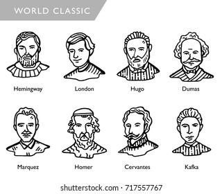 famous world writers, vector portraits, Hemingway, London, Hugo, Dumas, Marquez, Homer, Cervantes, Kafka