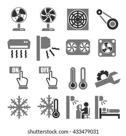 fan, air-conditioner icon set