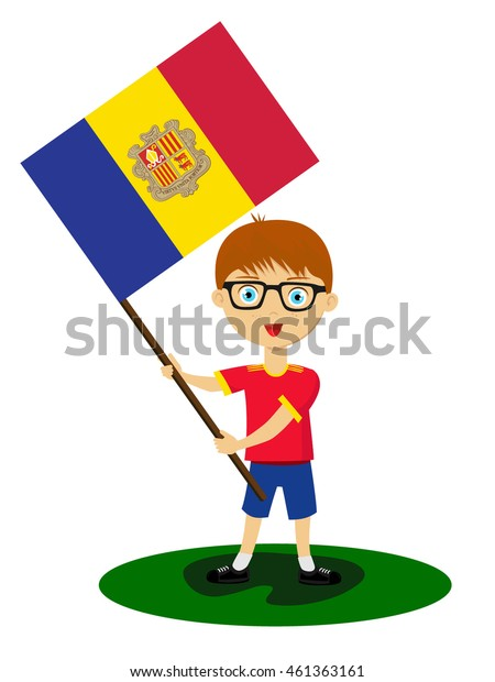 Fan of Andorra la Vella national football team, sports. Boy with flag in the colors of the state command with sports paraphernalia.
