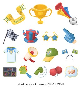 Fan and Attributes cartoon icons in set collection for design. Sports Fan vector symbol stock web illustration.