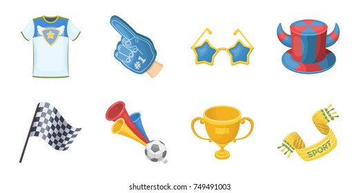 Fan and Attributes icons in set collection for design. Sports Fan vector symbol stock web illustration.