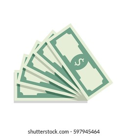 Fan of banknotes vector. Bill money currency, finance dollar illustration