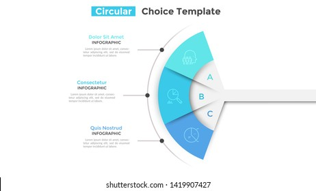 Fan chart divided into 3 parts or pieces. Concept of three business features or options to choose. Simple infographic design template. Modern flat vector illustration for website, presentation.