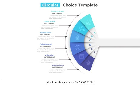 Fan chart divided into 6 parts or pieces. Concept of six business features or options to choose. Simple infographic design template. Modern flat vector illustration for website, presentation.