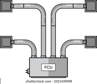 Fan Coil Unit Flat Vector with Diffusers HVAC Flat Vector