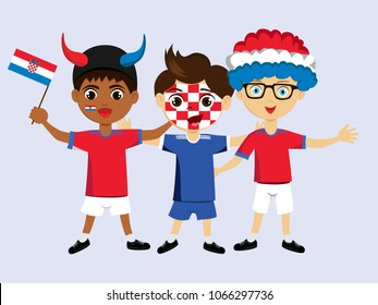 Fan of Croatia national football, hockey, basketball team, sports. Boy with Croatia flag in the colors of the national command with sports paraphernalia. Boy with Croatia flag in the form of a sport.