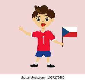 Fan of Czech Republic national football, hockey, basketball team, sports. Boy with Czech Republic flag in the colors of the national command with sports paraphernalia. Boy with Czech Republic flag.