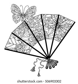 fan decorated by contoured butterflies and asian style flowers. zen style picture for anti stress drawing or colouring book. Hand-drawn, retro, doodle, vector, for coloring book, poster or card design