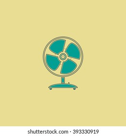 Fan Flat line icon on yellow background. Vector pictogram with stroke