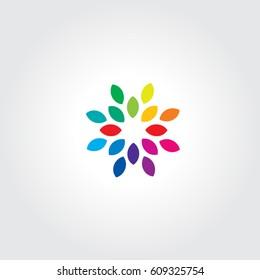 Fan Flower Color Icon Logo