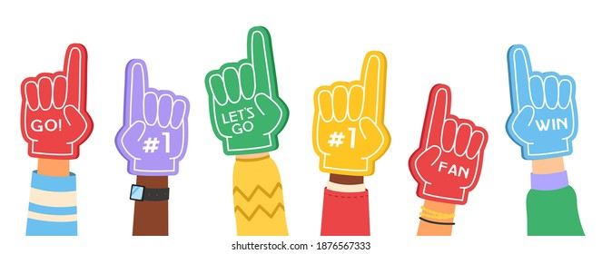 Fan foam fingers. Supporting color flat hands signs with cheerleaders inscription, motivation favorite sports team collection. Accessories for football match on stadium cartoon vector isolated concept