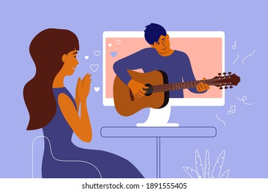 Fan girl looks in love at her idol on computer screen. Man playing guitar. Boyfriend performs melody on musical instrument online for girlfriend. Young woman and virtual valentine. Vector illustration