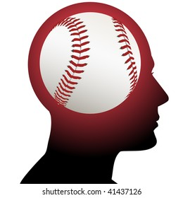 A fan has baseball in mind as he thinks about sports.