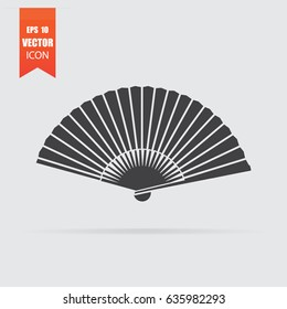 Fan icon in flat style isolated on grey background. For your design, logo. Vector illustration.