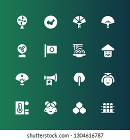 fan icon set. Collection of 16 filled fan icons included Grandstand, Benzene, Chinese, Heat, Japanese, Fan, Vuvuzela, Sensu, Padthai, Japan, Paper China