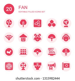 fan icon set. Collection of 20 filled fan icons included Fan, Air, Benzene, Chinese, Japanese, China, Grandstand, Padthai, Sensu, Extractor, Fans, Vuvuzela, Japan