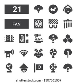 fan icon set. Collection of 21 filled fan icons included Fan, Japan, Chinese, Vuvuzela, Benzene, Sensu, Padthai, Heat, Grandstand, Chimes, Heating, Extractor, Japanese, China