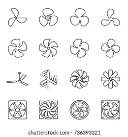 Fan icons. Collection of 16 linear symbols isolated on a white background. Vector illustration. Editable stroke