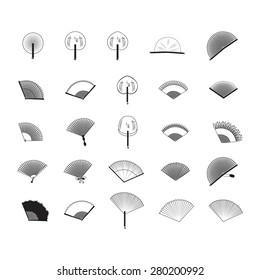 Fan Icons Set - Isolated On White Background - Vector Illustration, Graphic Design, Editable For Your Design