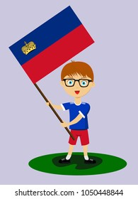Fan of Liechtenstein national football, hockey, basketball team, sports. Boy with Liechtenstein flag in the colors of the national command with sports paraphernalia. Boy with Liechtenstein flag