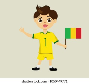 Fan of Mali national football, hockey, basketball team, sports. Boy with Mali flag in the colors of the national command with sports paraphernalia. Boy with Mali flag in the form of a sport.