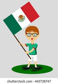 Fan of Mexico national football team, sports. Boy with flag in the colors of the national command with sports paraphernalia.