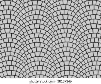 fan pattern of grey paving stones