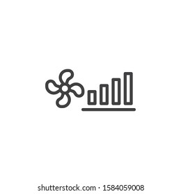 Fan power mode line icon. linear style sign for mobile concept and web design. Cooling climate control outline vector icon. Symbol, logo illustration. Vector graphics