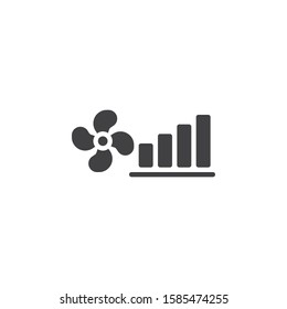 Fan power mode vector icon. filled flat sign for mobile concept and web design. Cooling climate control glyph icon. Symbol, logo illustration. Vector graphics
