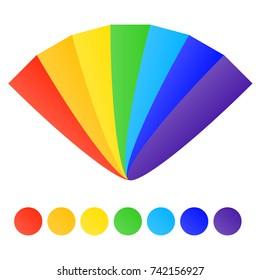 Fan of rainbow colors. Rainbow fan. Flat design, vector illustration, vector.