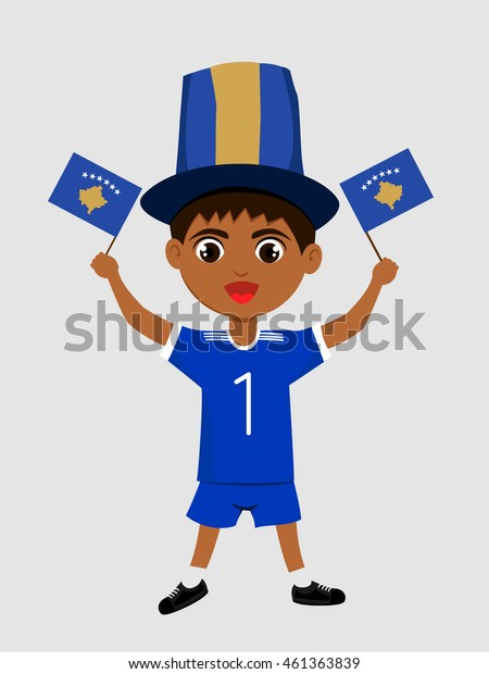 Fan of Republic of Kosovo national football team, sports. Boy with flag in the colors of the state command with sports paraphernalia.