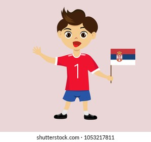 Fan of Serbia national football, hockey, basketball team, sports. Boy with Serbia flag in the colors of the national command with sports paraphernalia. Boy with Serbia flag in the form of a sport.