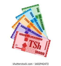 Fan Shaped Stack of Tanzanian Shilling Banknotes in various value money vector icon logo and design. Tanzania Business, payment and finance element. Can be used for web, mobile, infographic, and print