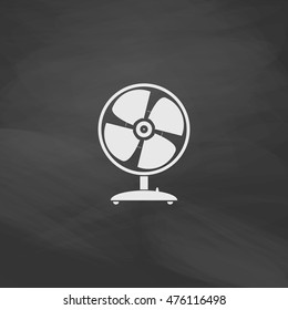 Fan Simple vector button. Imitation draw icon with white chalk on blackboard. Flat Pictogram and School board background. Illustration symbol