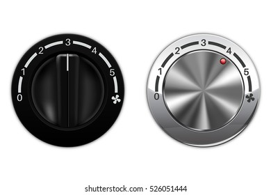 Fan speed switch. Black and silver metal. Car air conditioning. Vector illustration isolated on white background