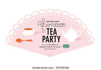 Party invitation images stock photos vectors shutterstock fan tea party invitation card template vectorillustration stopboris Image collections