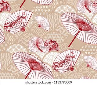 fan unbrella traditional geometric kimono pattern flowery vector sketch illustration line art japanese chinese oriental design