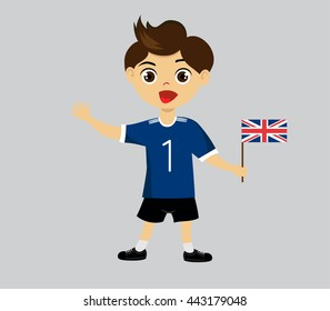 Fan of  United Kingdom (Great Britain) national football team, sports. Boy with flag in the colors of the national command with sports paraphernalia.