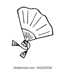 Fan vector illustration. Doodle style. Design, print, logo, decor, textile, paper.