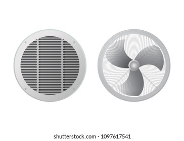 Fan and ventilation grille. Blower vector illustration. The HVAC equipment.