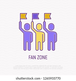 Fan zone thin line icon: group of people with raised flags. Modern vector illustration of sport audience.