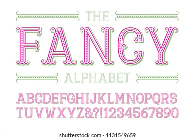 Fancy alphabet with numbers in fashionable festive style.