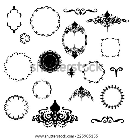 Fancy Design Elements Vector Black White Stock Vector Royalty Free