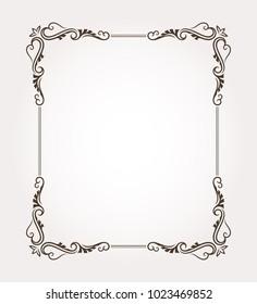 Fancy frame border with decorative ornament. Vector illustration