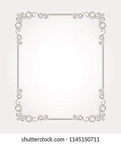 Fancy frame border. Decorative page ornament. Vector illustration